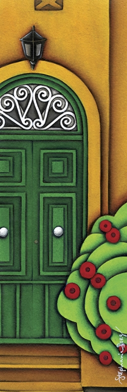 <h5> The Green Door</h5><p><strong>Sold</strong> <span><cite>Size</cite>30cm x 10cm </span> <span><cite>Medium</cite> Ink</span></p>