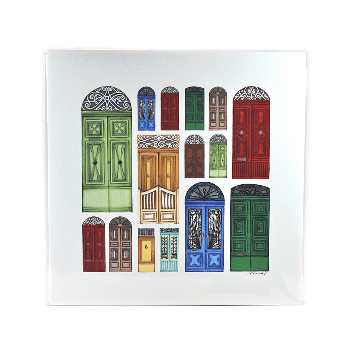 Square Print with drawings of Maltese Doors