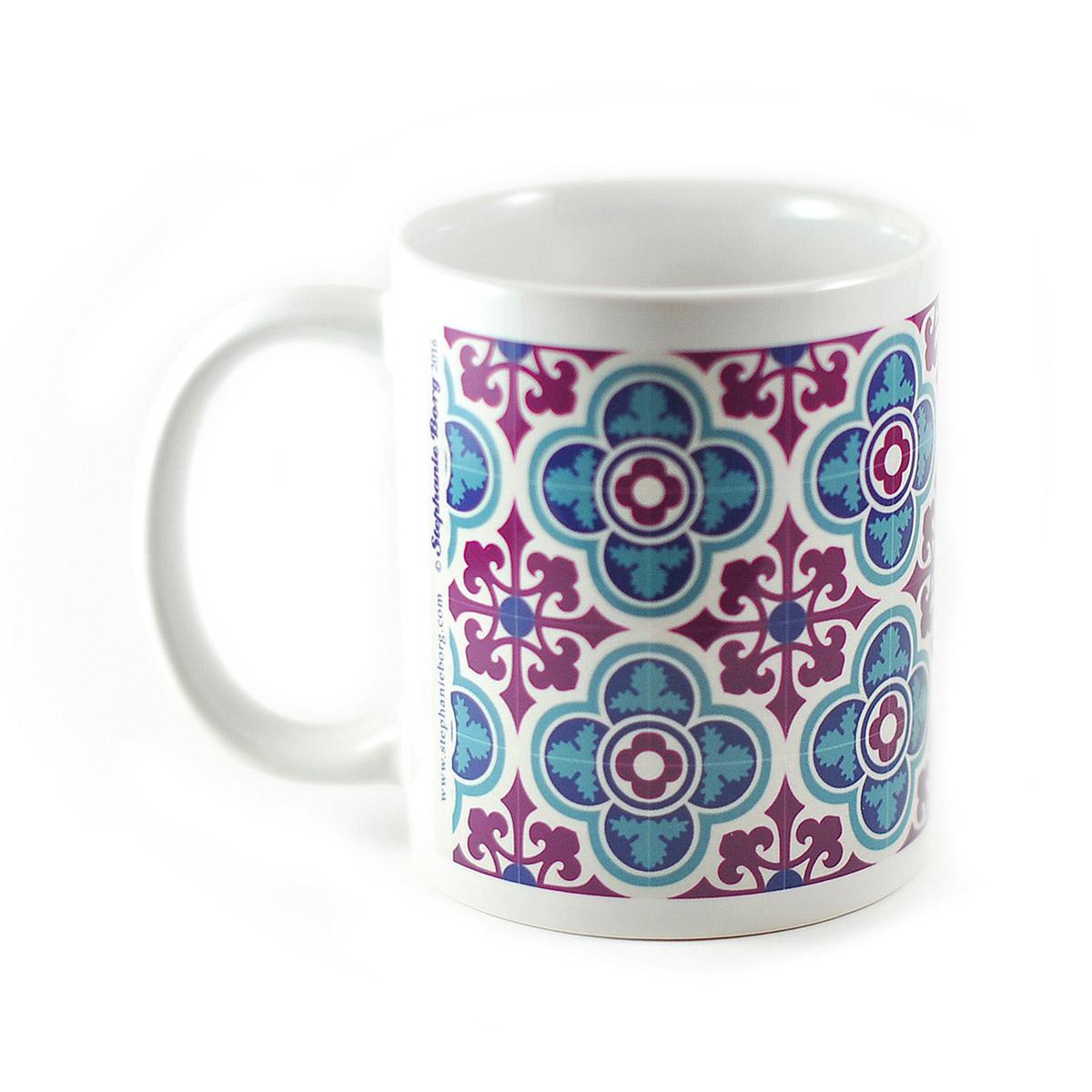 Mug with Malta Tile design, pattern no.3