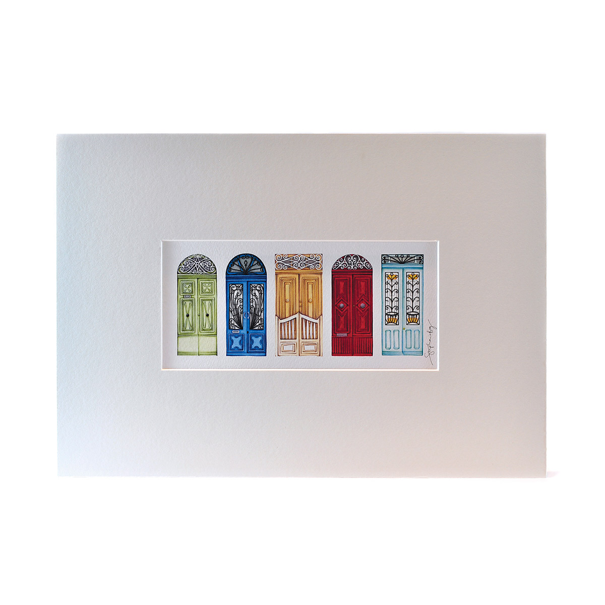 Print with Drawings of 5 Maltese Doors