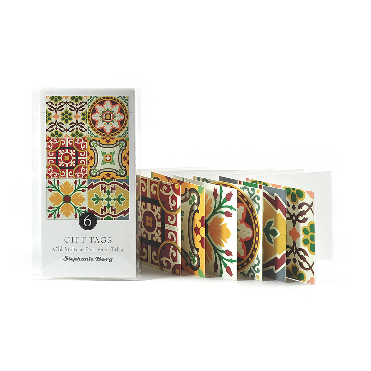 6 Gift Tags with Maltese Tile Patterns, assorted brights