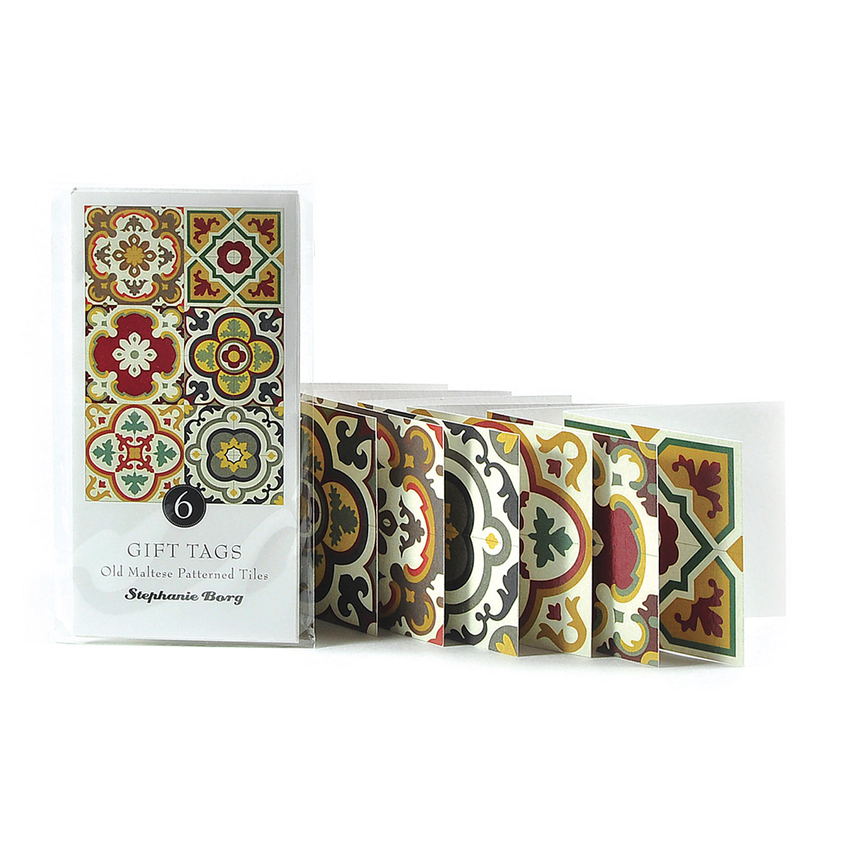 6 Gift Tags with Maltese Tile Patterns, assorted classics