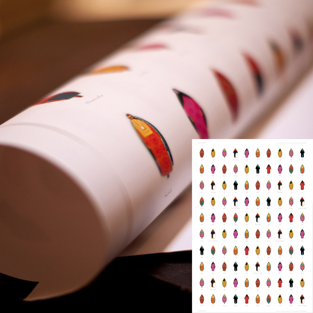 5 Sheets of Gift Wrap Paper with Omani Women