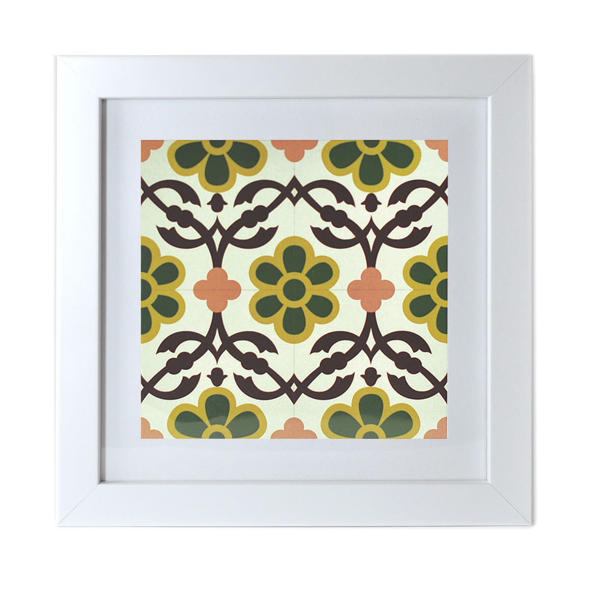 Malta Tile Print, framed, pattern no.12