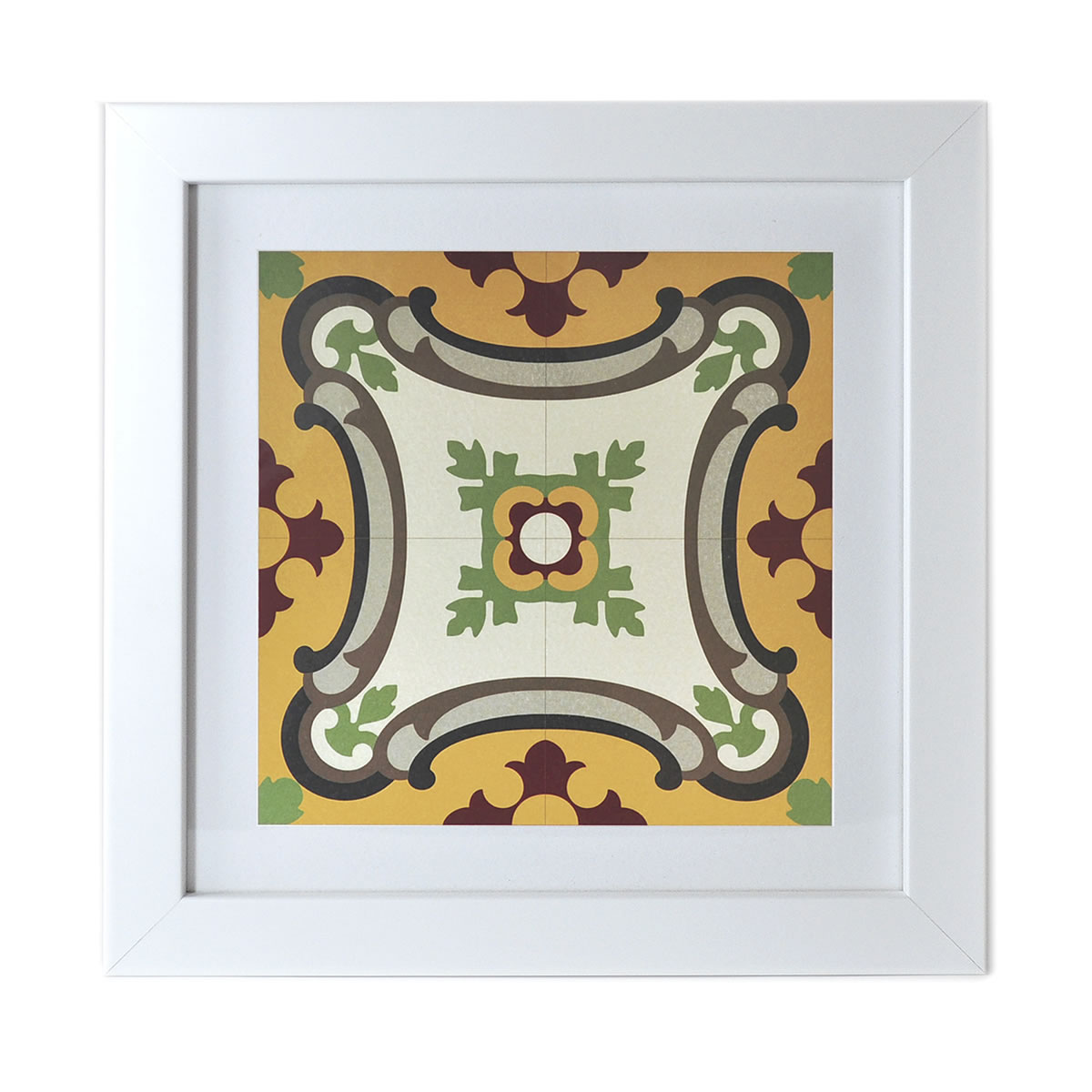 Malta Tile Print, framed, pattern no.13