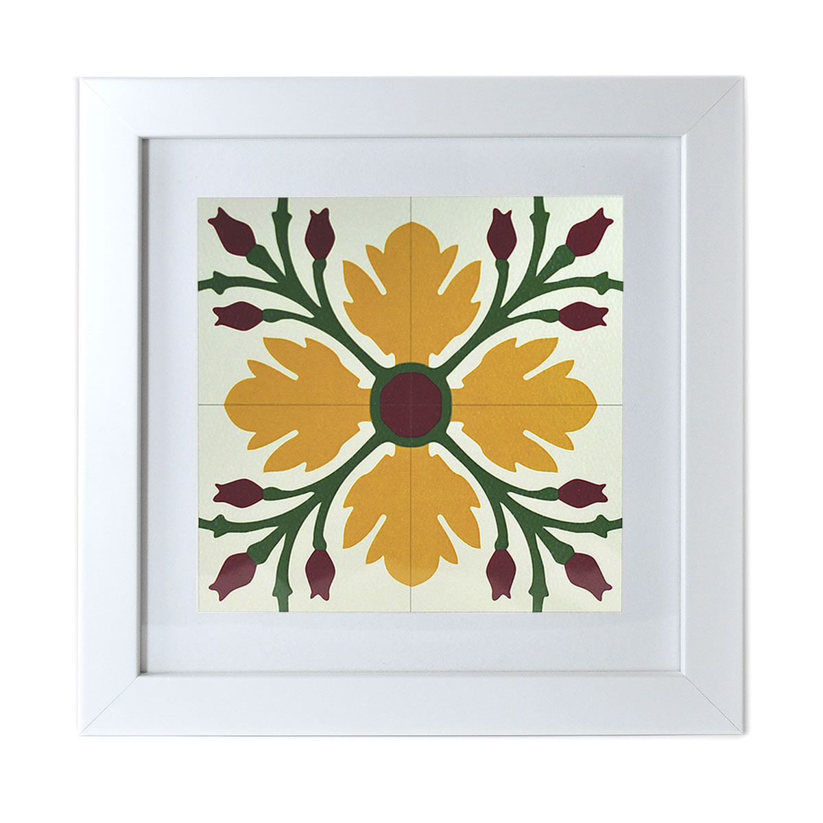 Malta Tile Print, framed, pattern no.15