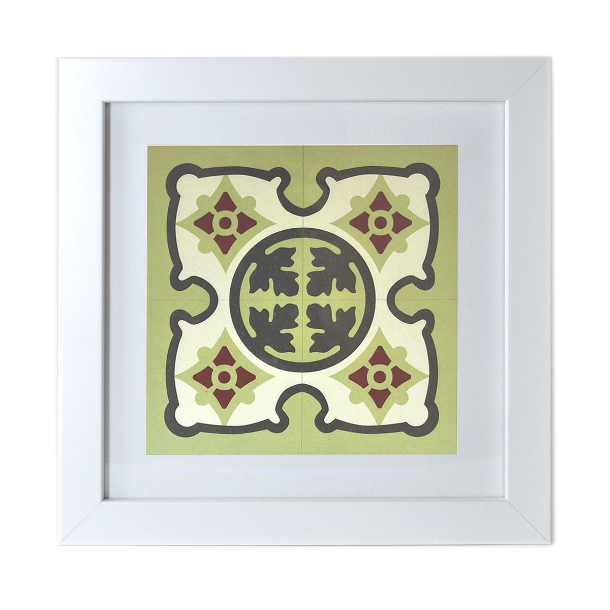 Malta Tile Print, framed, pattern no.18