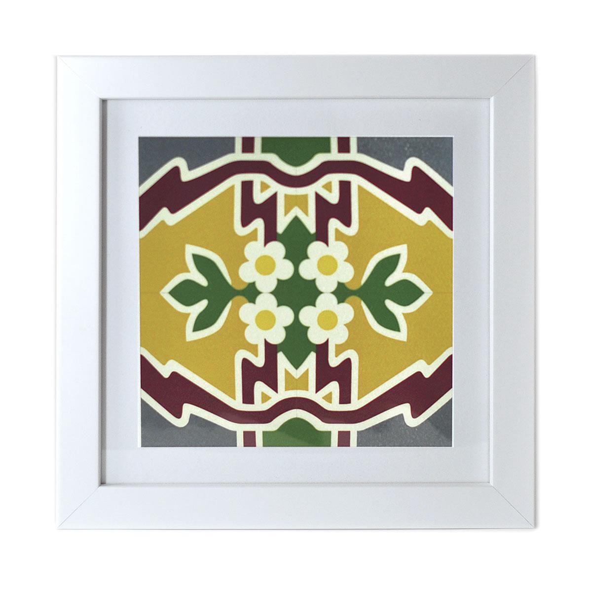 Malta Tile Print, framed, pattern no.2