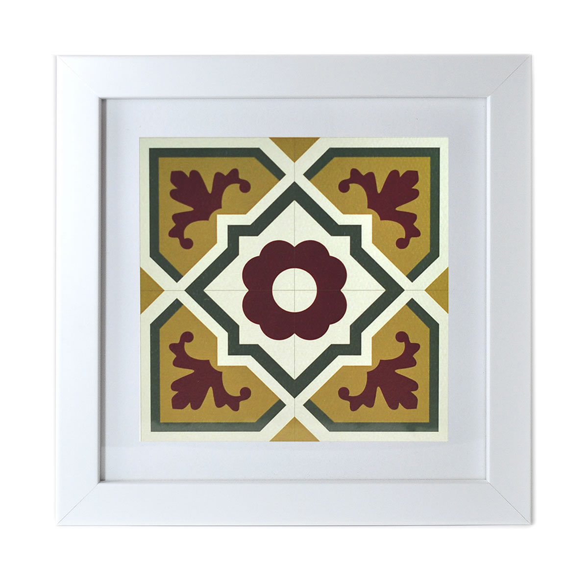 Malta Tile Print, framed, pattern no.6