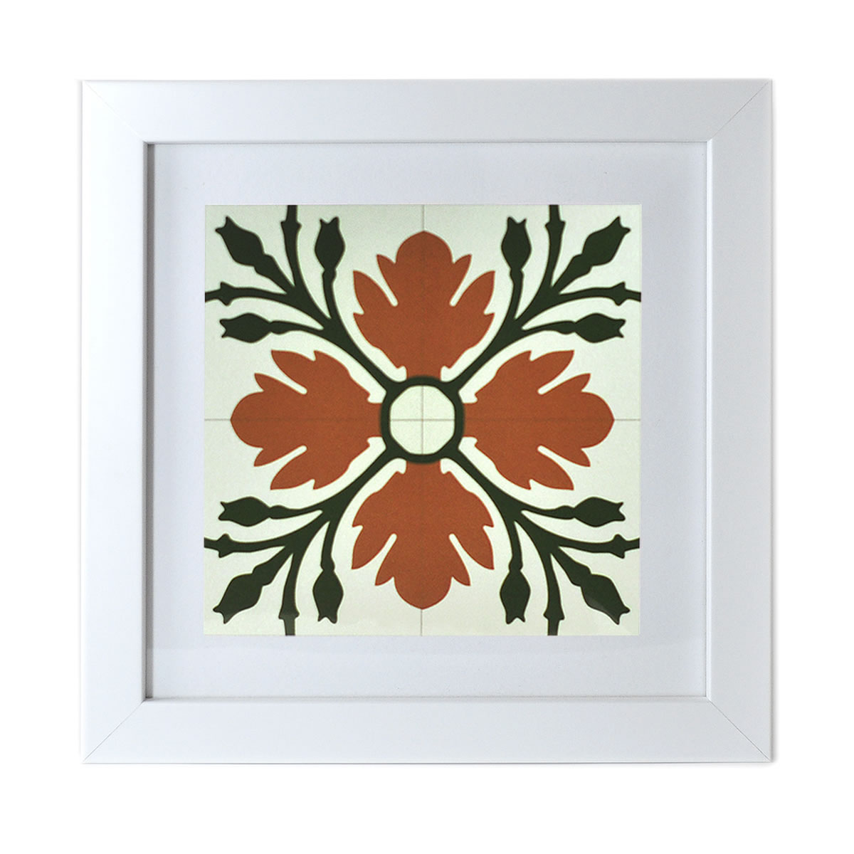 Malta Tile Print, framed, pattern no.7