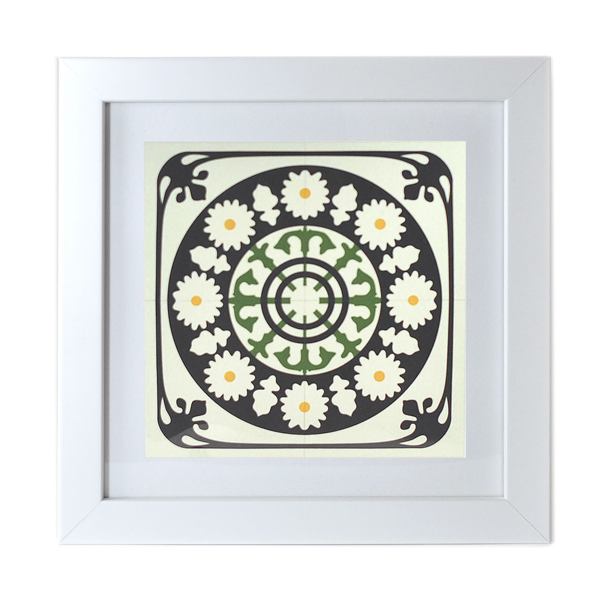 Malta Tile Print, framed, pattern no.8