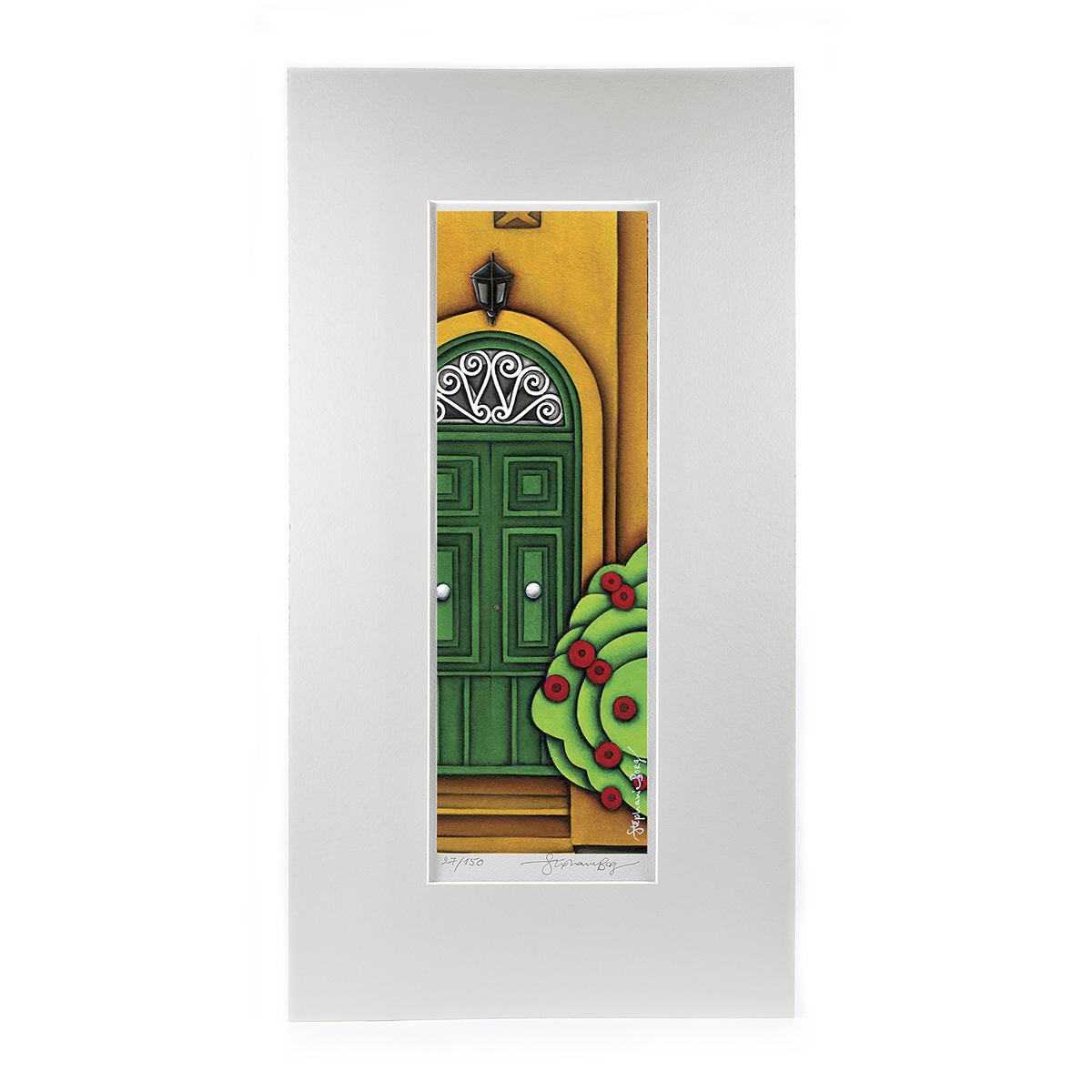 green-door-mounted