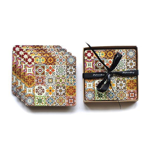 tile collage coaster set