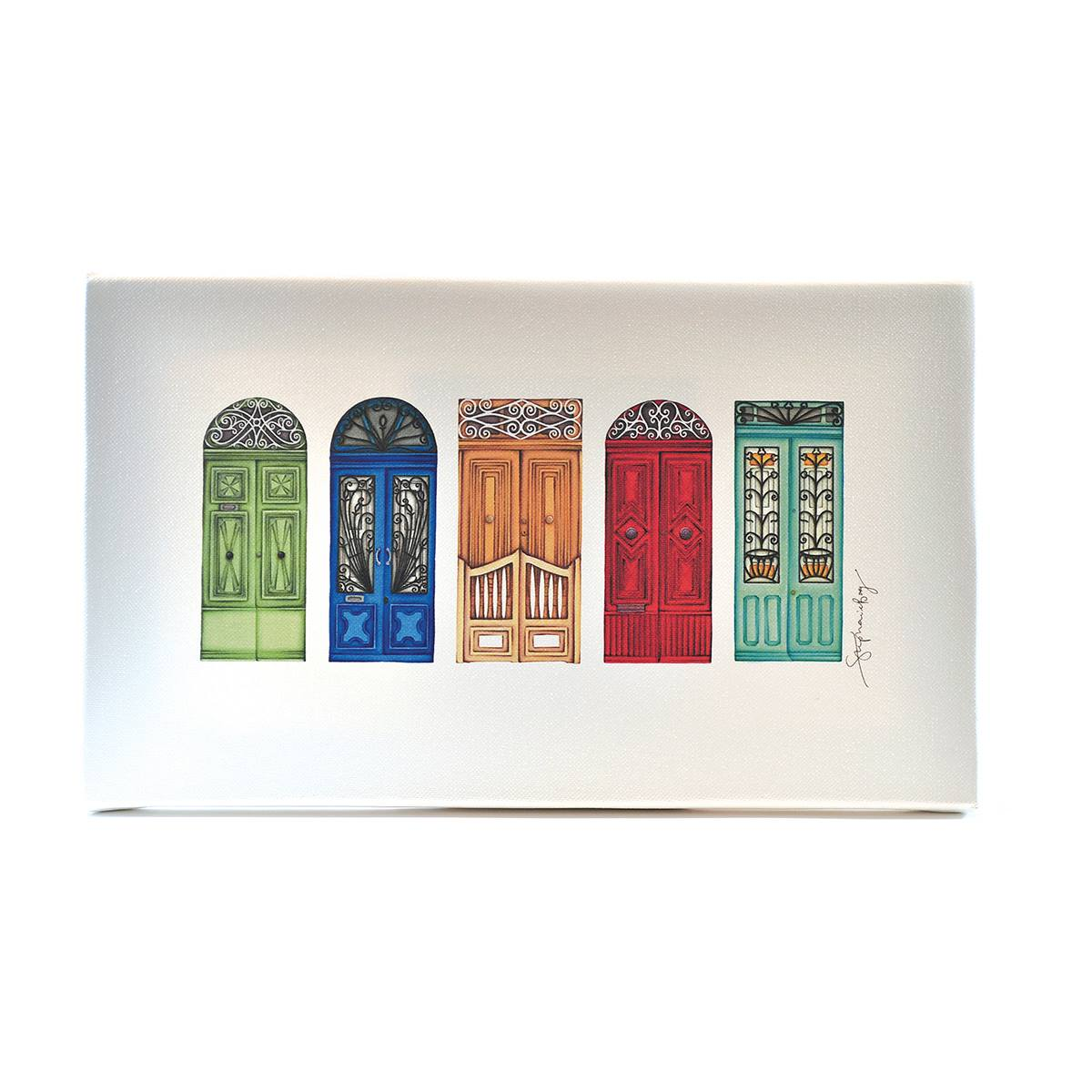Canvas Print with Drawings of 5 Maltese Doors