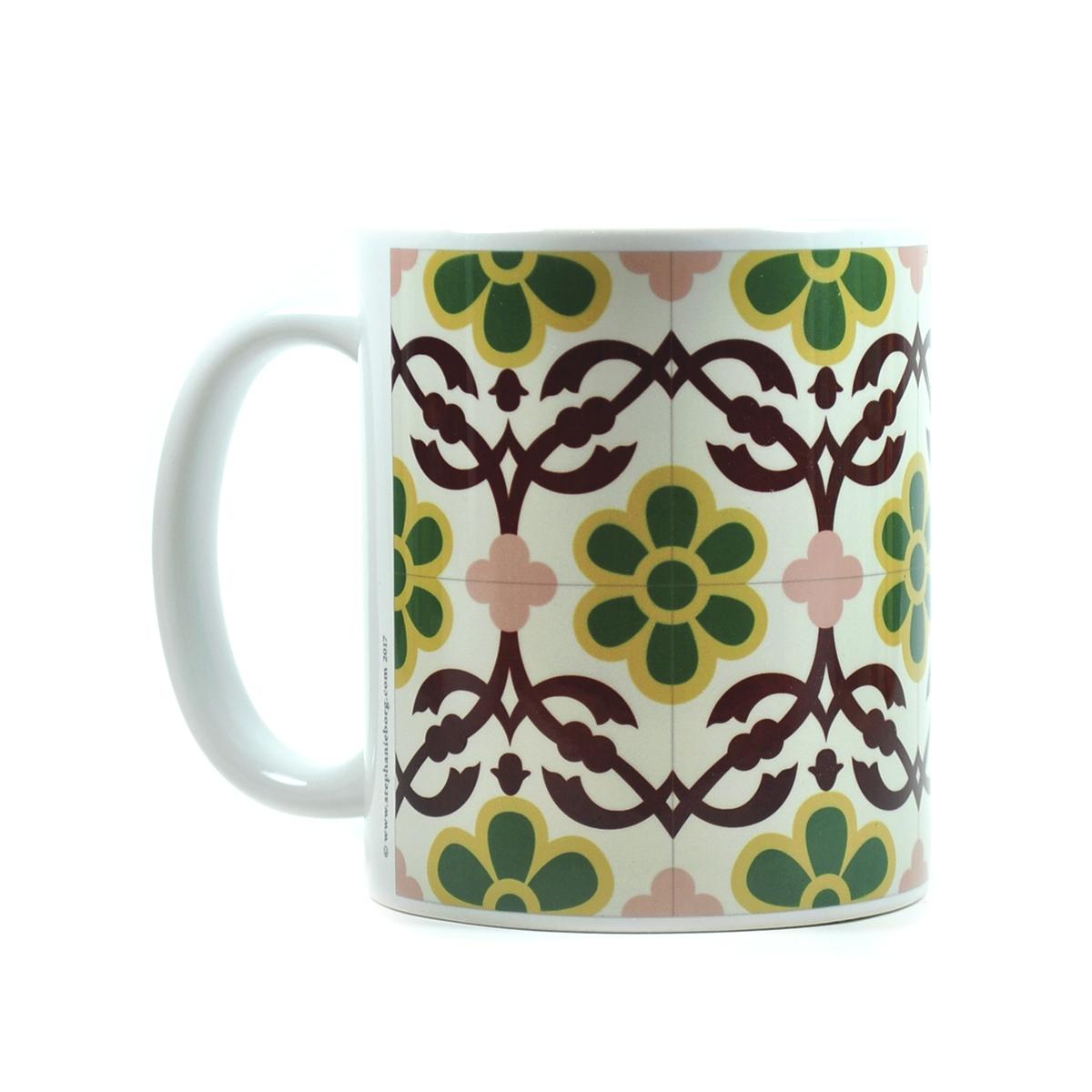 Mug with Malta Tile large Pattern no.12