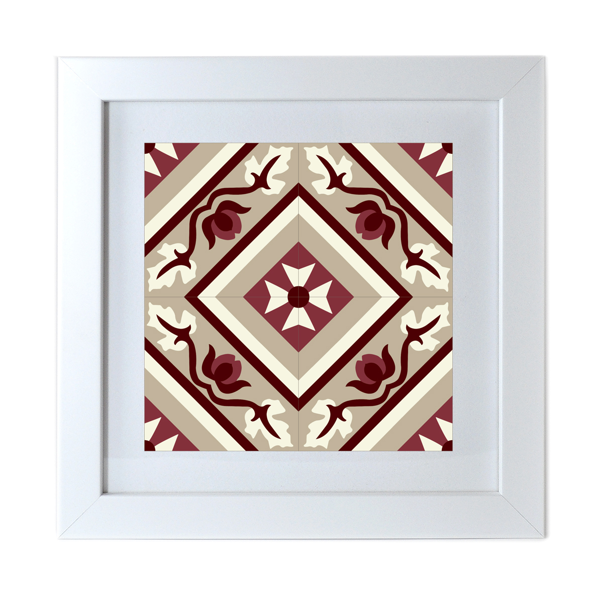 Malta Tile Print, framed, pattern no.19