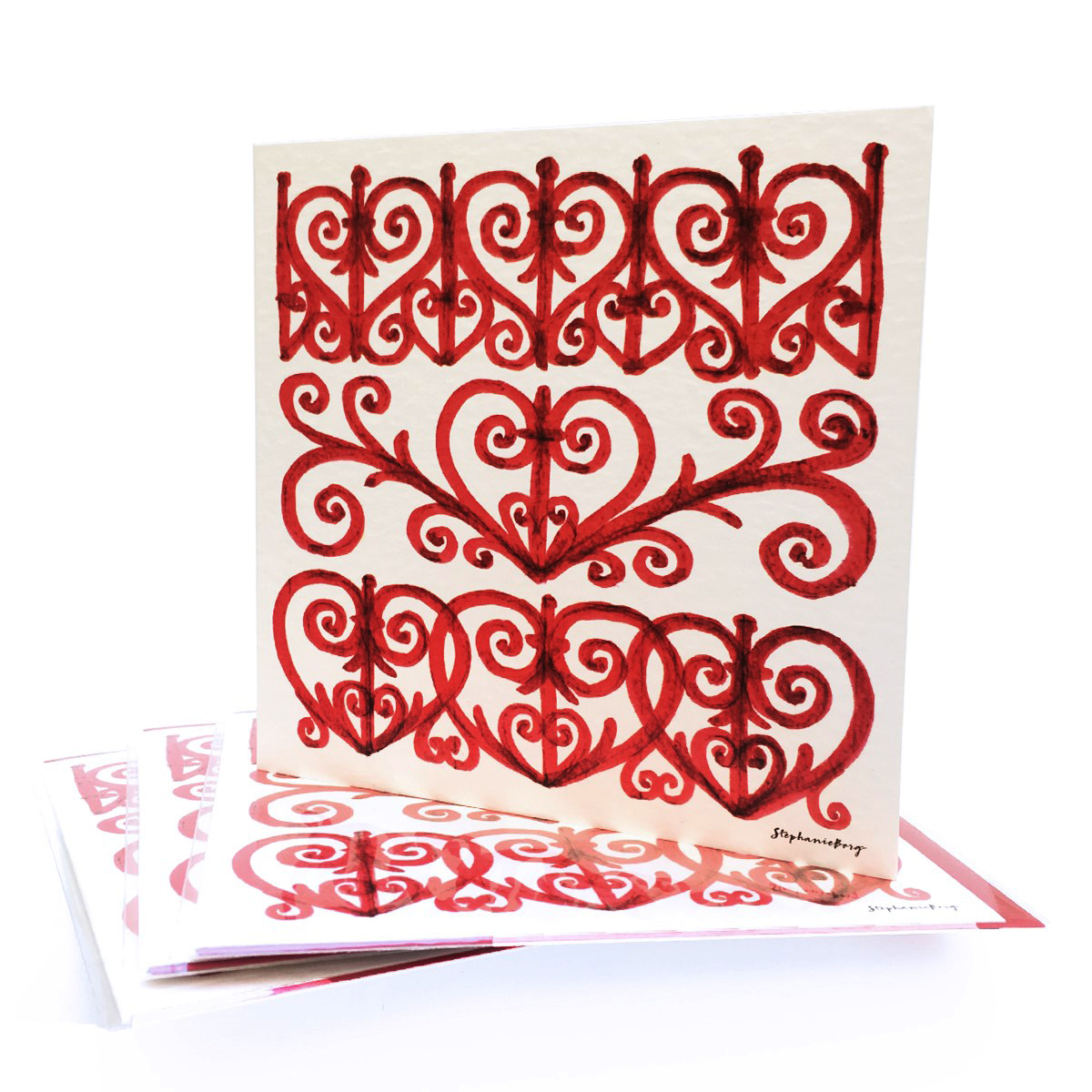Wrought Iron Red Greeting Cards Pack of 3