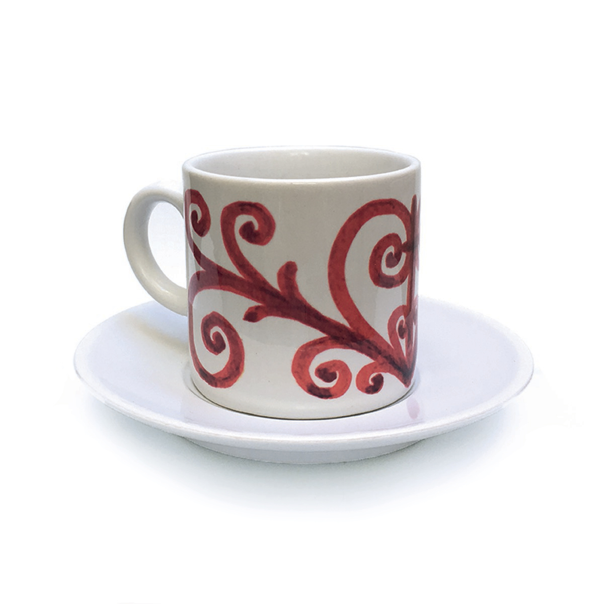 Wrought Iron Red Cup & Saucer Pattern 1