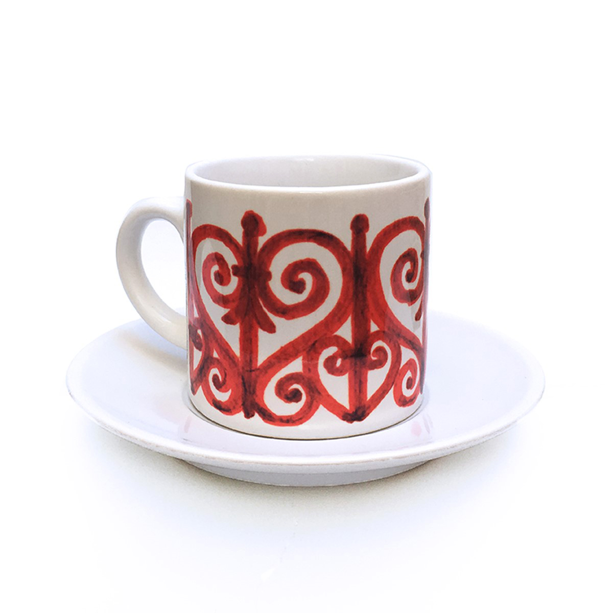 Wrought Iron Red Cup & Saucer Pattern 3