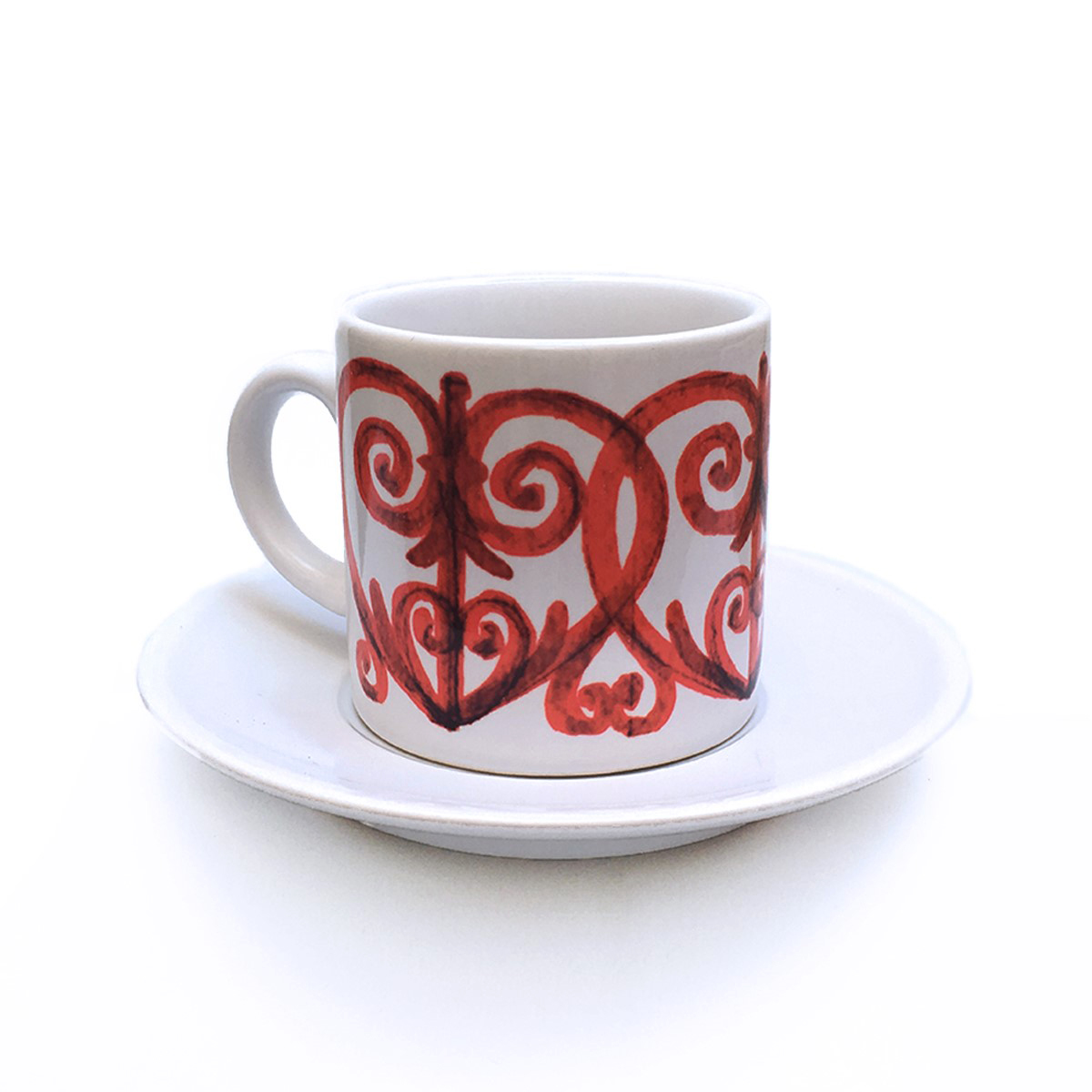 Wrought Iron Red Cup & Saucer Pattern 4