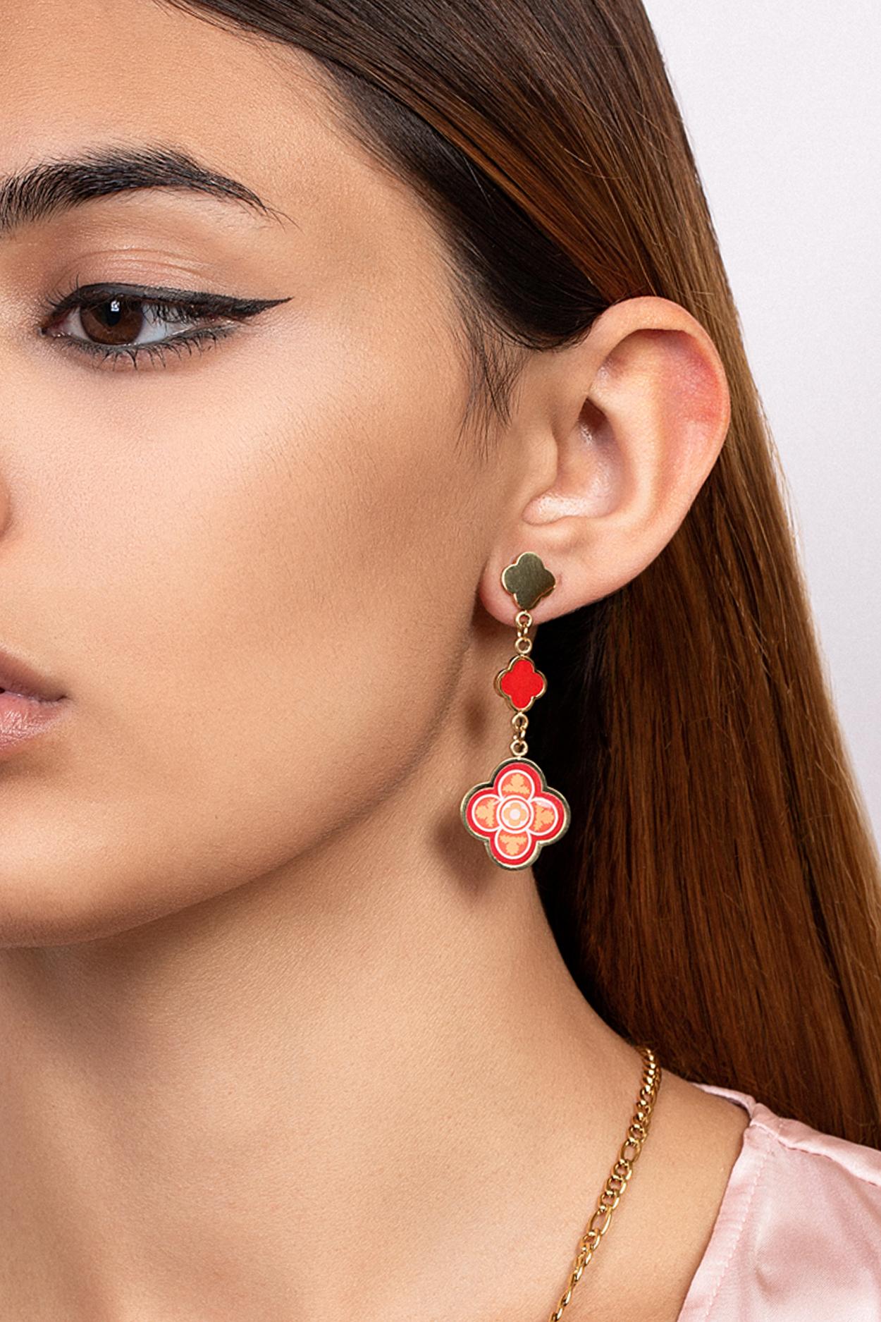 peach madum earring